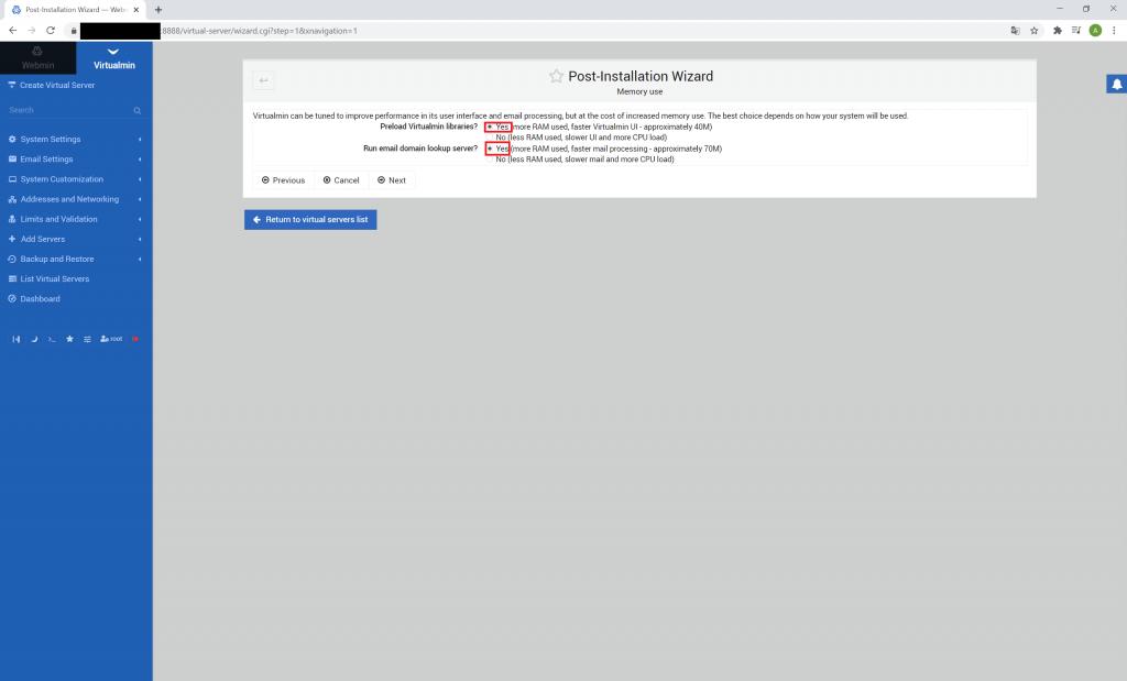 webmin virtualmin instalacja krok 3