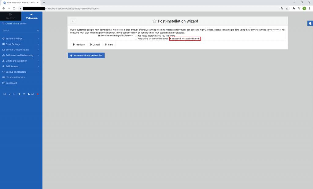 webmin virtualmin instalacja krok 4